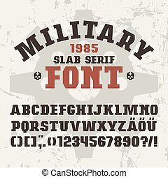 Slab serif font in military style. Bold face