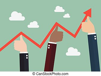 Thumbs up pushing graph up. Business concept