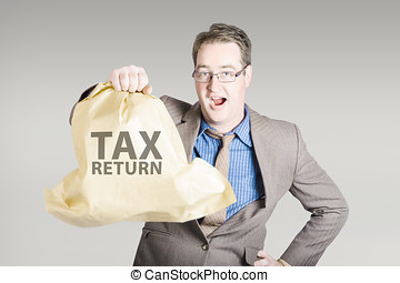 Accountant holding large tax return refund - Business man...