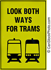 Tramway tram system sign - Transportation traffic sign of...