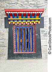Labrang Gompa , Sikkim, India - Details of the decorated...