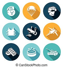 Russian Special Forces Icons Set Vector Illustration -...
