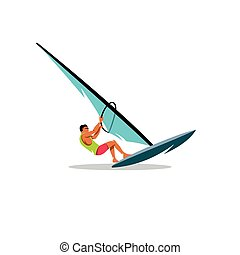 Windsurfing. Vector Illustration. - Atle operates Sailing on...