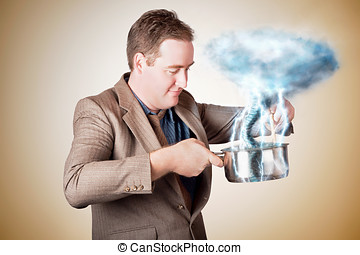 Businessman with plan cooking up strategic storm - Planning...