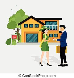 Sell house - Salesmen are selling a house to a woman who has...
