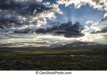Midnight Sun in Lapland - Landscape in Lapland, northern...