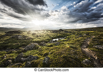 Midnight Sun in Lapland - Landscape in Lapland, northern...