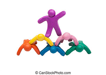 Crowd group of colourful plasticine humans
