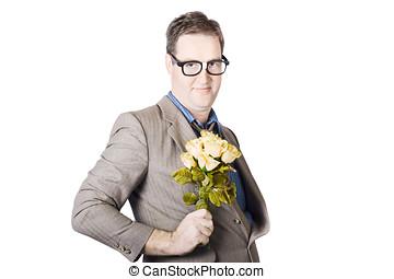 Businessman Holding Bouquet - Portrait Of Businessman...
