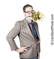 Businessman With Flowers In Mouth - Businessman With Hand On...