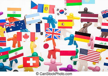 Plasticine humans with the various flags - Crowd group of...
