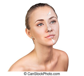 Young woman skin care concept. - Young woman, isolated on...