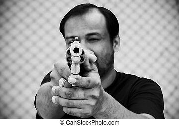 arma, segurando, homem