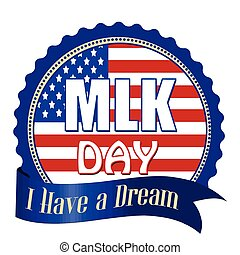 Martin Luther King Day  label, sticker or stamp
