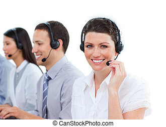 Portrait of charming customer service agents working in a call center