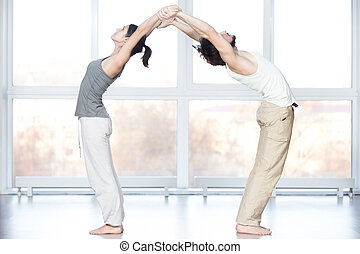 Acroyoga, Standing Backward Bend pose - Fitness practice,...