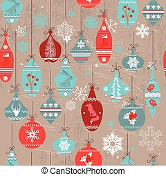 Seamless beige vintage pattern with traditional Christmas...