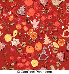 Seamless dark red with traditional Christmas elements -...