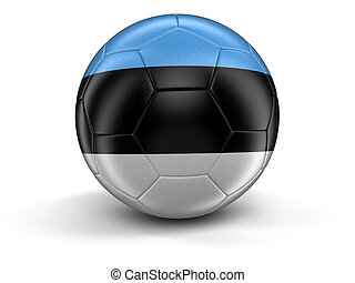 Soccer football with Estonian flag Image with clipping path