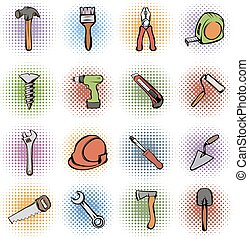 Building comics icons set isolated on white background