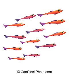 Group of small fish icon - Group of small fish cartoon icon....