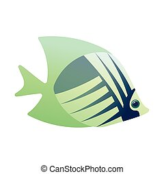 Tropical angelfish cartoon icon isolated on a white