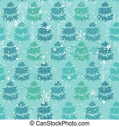 Seamless blue pattern with fir trees