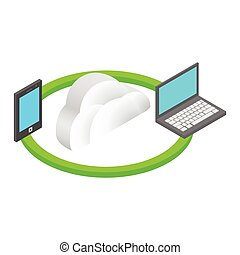 Cloud computing isometric 3d concept