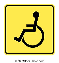 disabled yellow sign - Disabled sign on yellow background...