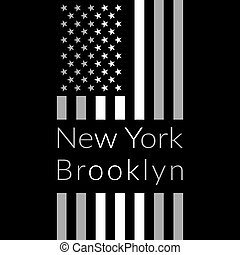 NY t-shirt design - New York Brooklyn Typography on black...