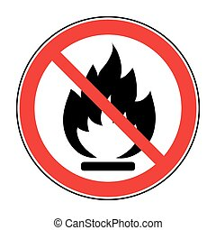 no fire open flame sign - No Fire sign Prohibits danger open...