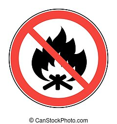 no fire bonfire sign - No Fire sign Prohibits danger open...