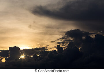 sunset sky, dramatic moody sky - beautiful sunset sky,...