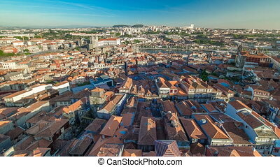 Red roofs of city centre -  view from Clerigos Tower in Porto timelapse, Portugal