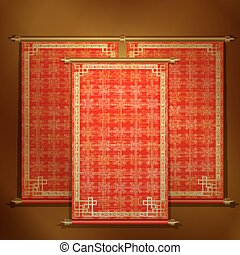 Red scroll with Asian ornament