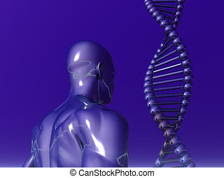 dna - DNA strands and human body on blue background - 3d...