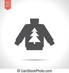 Vector christmas icon. New year illustration. Pullover with...