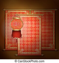 Red scroll with Asian ornament and chinese lantern