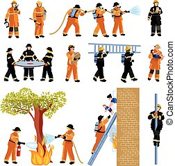 Firefighter People Flat Color Icons Set - Decorative flat...