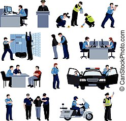 Policeman People Flat Color Icons - Policeman people at...
