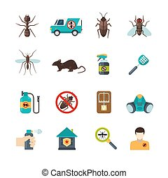 Exterminator Pest Control Flat Icons Set - Home pest control...