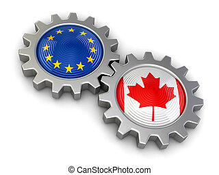 Canadian and European union flags on a gears Image with...