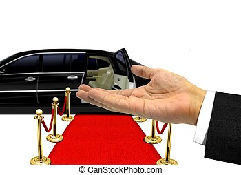 Hand welcome gesture to a luxury limousine ride