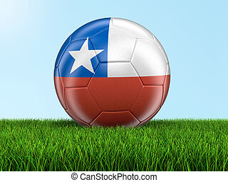 Soccer football with Chilean flag Image with clipping path