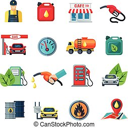 Gas Station Color Icons Set - Gas station flat color icons...
