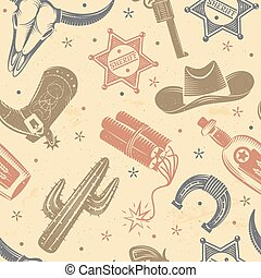 Cowboy Seamless Pattern - Cowboy seamless pattern with...