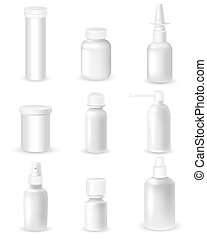 Medicine Bottles Set - Medicine blank white bottles set for...