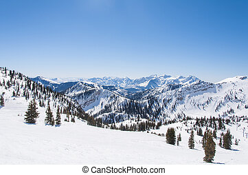Snowy Riges behind Hidden Peak - Mountain Ridges Behind...