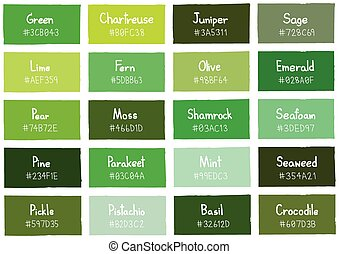 Green Tone Color Shade Background with Code and Name...