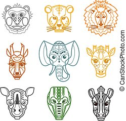 African Animals Heads Masks Line Icons - African tribal...